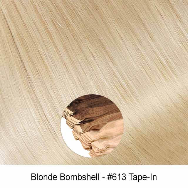 Blonde Bombshell #613 Tape In Light Golden Bleach Blonde Virgin Remy Seamless Tape In Hair Extensions Color 613