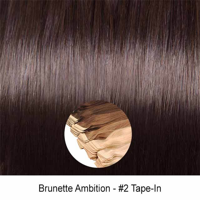 Brunette Ambition Dark Brown Virgin Remy Seamless Tape In Hair Extensions Color 2