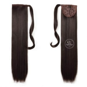 Synthetic Ponytail Hair Extension color 4 Dark Brown made from 100 percent Japanese and Korean High Quality Synthetic Heat-Resistant Fiber Hair