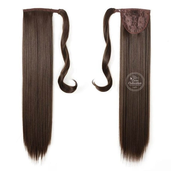 Straight Wrap Around Synthetic Ponytail Hair Extension 6 Chestnut Brown