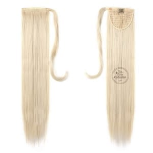 Synthetic Ponytail Hair Extension color #60 Platinum Blonde made from 100 percent Japanese and Korean High Quality Synthetic Heat-Resistant Fiber Hair