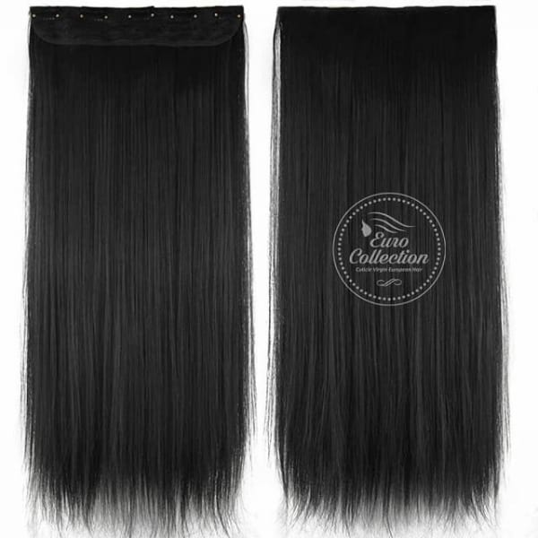 Euro Straight Full Head Synthetic Hair Extensions Clip In 1b Off