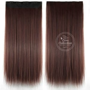 Euro Straight Full Head Synthetic Hair Extensions Clip-In Clip-on in color 33 Dark Auburn 100{36e649cd2213f9c5bec6c8d5237ebca41fba04111c1d2c771eebf5d7d020db7b} Korea and Japanese High Quality Synthetic Heat-Resisting Fiber