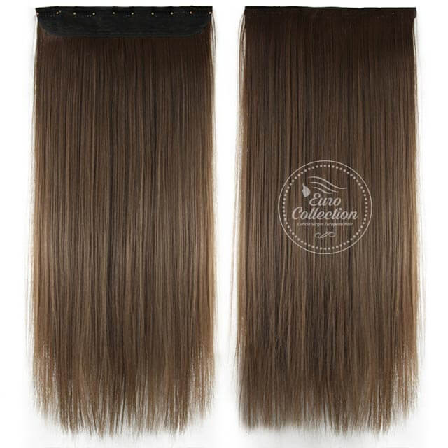 Euro Straight Full Head Synthetic Hair Extensions Clip-In Clip-on in color 8 Medium Ash Brown 100{36e649cd2213f9c5bec6c8d5237ebca41fba04111c1d2c771eebf5d7d020db7b} Korea and Japanese High Quality Synthetic Heat-Resisting Fiber