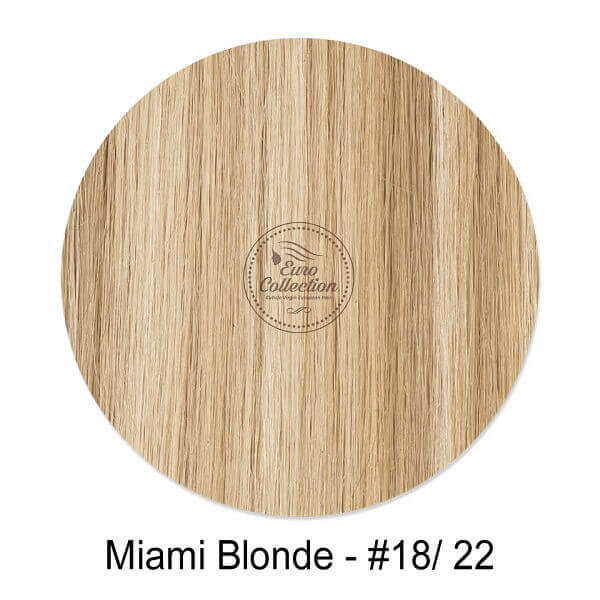 European Virgin Miami Blonde color #18 dirty blonde mixed with color #22 Champagne blonde